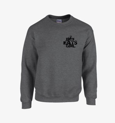 boy eats girl heather grey crew neck front